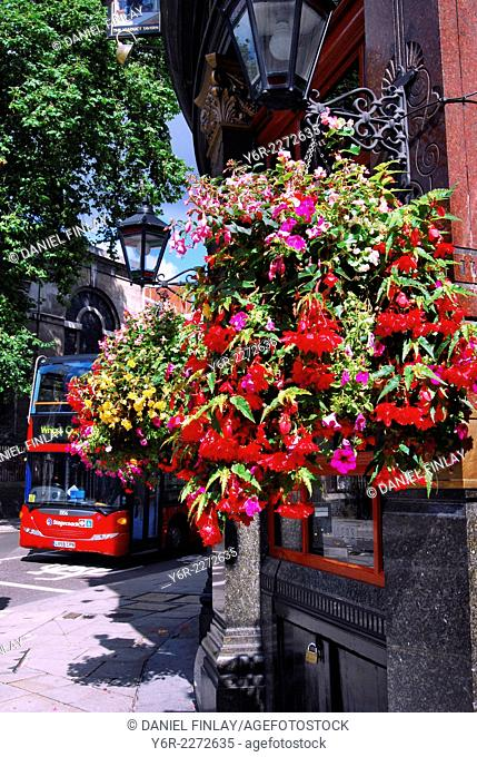 "Flower basket at the entrance to the """"Viaduct"""" pub. across the road from The Old Bailey, in the heart of London, England, on a sunny Summer day"