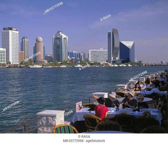 United Arabic emirates, Dubai, skyscrapers, Creek, boats,  Street cafe, guests, Fore Orient, Near east, near east, Arabic peninsula Arabia VAE of United Arab...