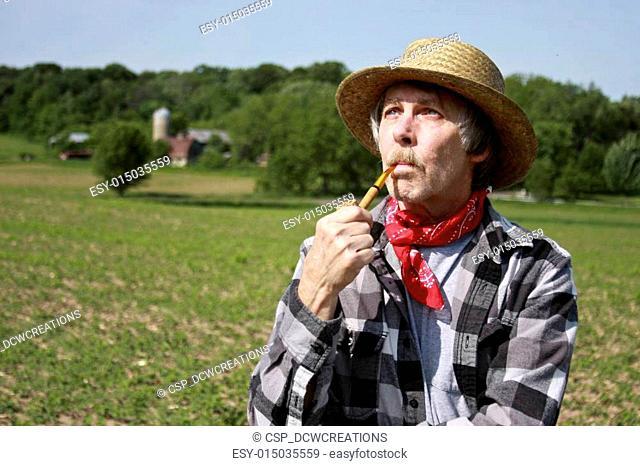 farmer in straw hat