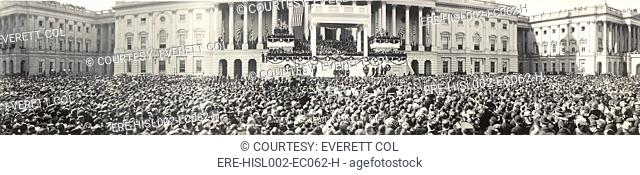 Panoramic photo of the inauguration of President Warren Harding 1865-1923 at the US Capitol on March 4, 1921