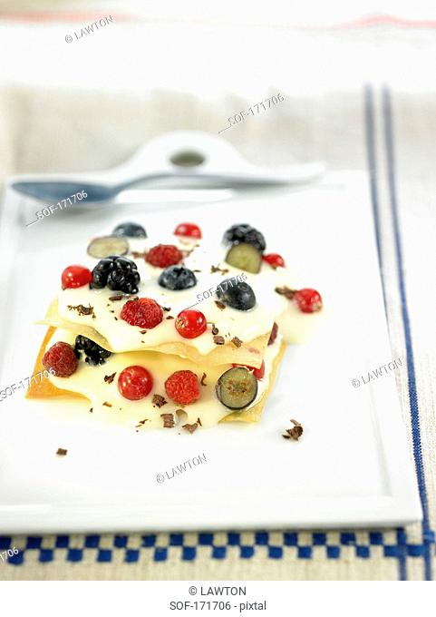 Ginger cream and summer fruit Mille-feuille