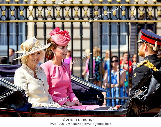 Princess Kate, Prince Harry and Camilla, Duchess of Cornwall leaves at Buckingham Palace in London, on June 17, 2017, to attend Trooping the colour the Queens...