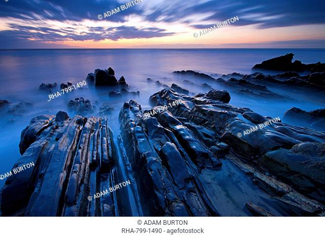 Twilight on the rocky ledges at Sandymouth in Cornwall, England, United Kingdom, Europe
