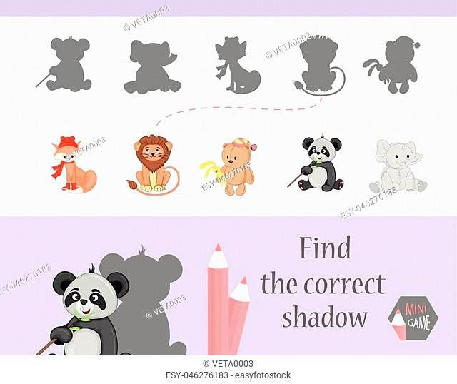 Find the correct shadow, education game for children. Cute Cartoon animals and Nature. vector illustration. gift,lion, elephantfox, bear