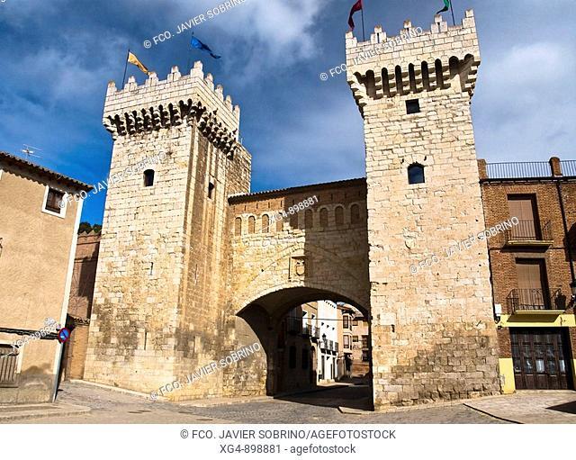 Puerta Baja or Puerta Fondonera 15th century town gate, Daroca. Zaragoza province, Aragon, Spain