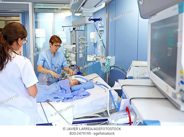 Medical care, Neonate Intensive care Unit, ICU, Hospital Donostia, San Sebastian, Gipuzkoa, Basque Country, Spain
