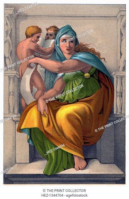 'The Sibyl of Delphi'. From a fresco by Michelangelo in the Sistine Chapel, the Vatican
