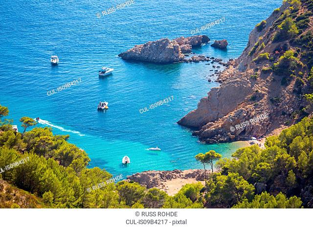 High angle view of yachts anchored in bay, Andratx, Majorca, Spain