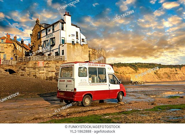 Ice Cream Van on the slipway of historic fishing village of Robin Hood's Bay, Near Whitby, North Yorkshire, England