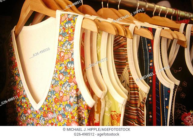 Rack of clothes in boutique