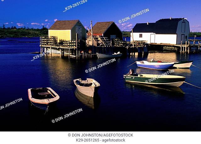 Moored dingies and fishing shacks, near Lunenberg, Scotia, Canada