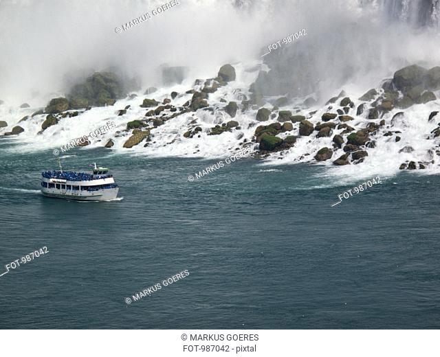 A tour boat at Niagara Falls