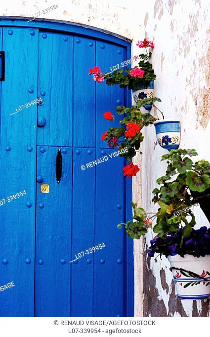Blue door and flower pots on white house. Mojácar, Andalucía. Spain