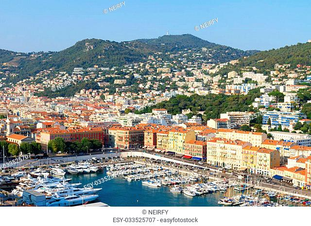 port of Nice at summer day from above, French Riviera, France