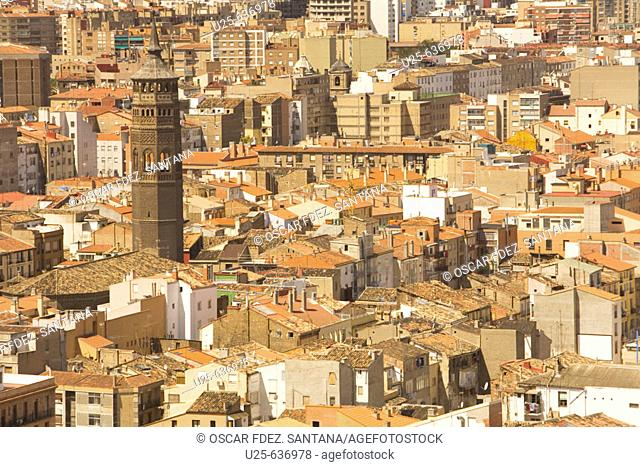 Zaragoza. Aragon. Spain. View from a tower of El Pilar Basilica