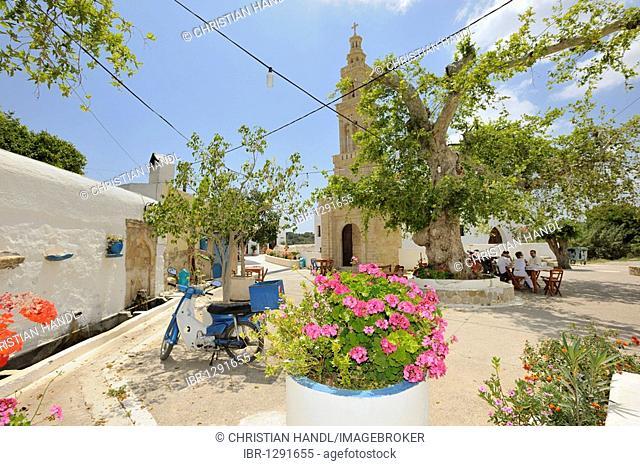 Platanos restaurant next to the Agia Irina church, Rhodes, Greece, Europe