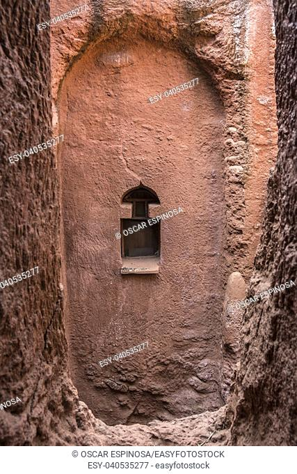 Bet Gabriel-Rufael, one of the churches carved into the rock of Lalibela. Ethiopia