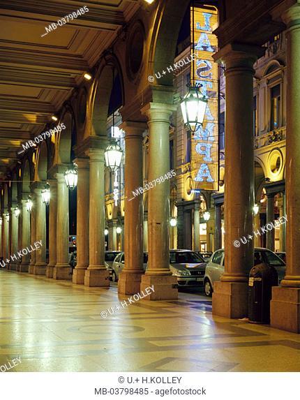 Italy, Piemont, Turin, via Roma,  Arcades, illumination, evening  Europe, North Italy, sight, arcade, columns, bows, round bows, cassette blankets, architecture