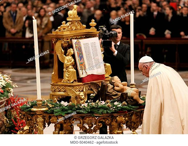 Pope Francis (Jorge Mario Bergoglio) standing in front of the statuette of the Child Jesus while celebrating the First Vespers and the Te Deum to give thanks...