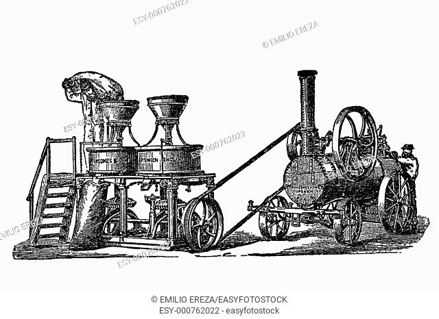 Stone mill powered by a steam engine. Old book illustration, 1900