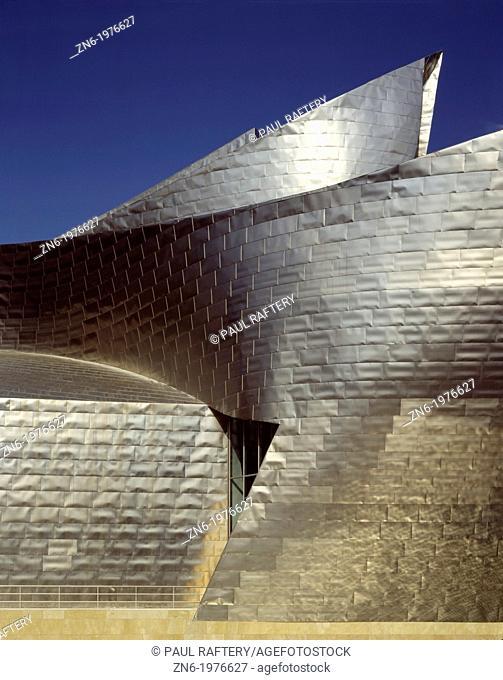 GUGGENHEIM MUSEUM, BILBAO, SPAIN, FRANK O GEHRY & ASSOCIATES, EXTERIOR, CLADDING DETAIL