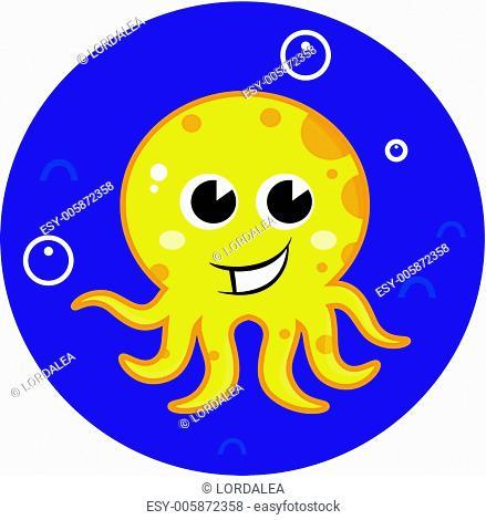 Yellow cartoon octopus in sea water