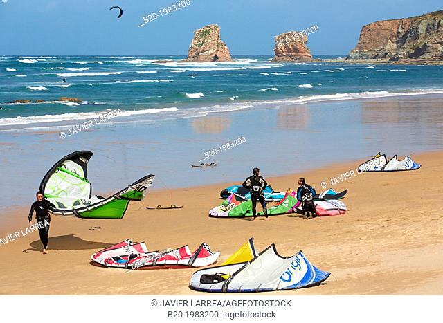Kite surfing, Kiteboarding. Beach of Hendaye, Pyrenees Atlantiques, Aquitaine, France