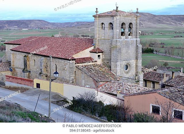 View of the church of Santo Domingo in Castrojeriz, Burgos, Spain