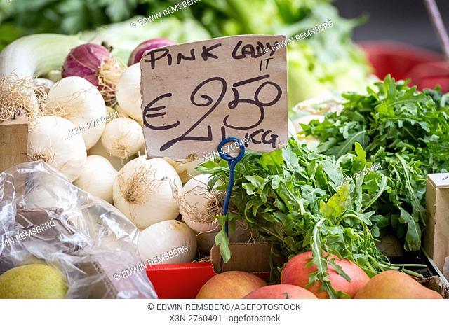 Rome, Italy- Fresh produce for sale in Campo de' Fiori, the largest and oldest outdoor market in Rome. It is located south of Piazza Navona