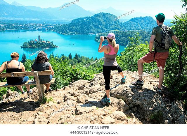 Europe, Balkan, Slovenia, Slovenian, Bled, people at view point