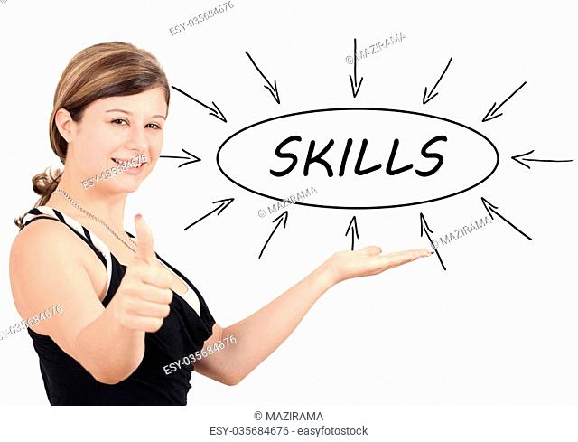 Skills - young businesswoman introduce process information concept. Isolated on white