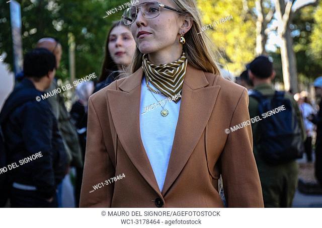 PARIS, France- September 26 2018: Alexandra Carl on the street during the Paris Fashion Week
