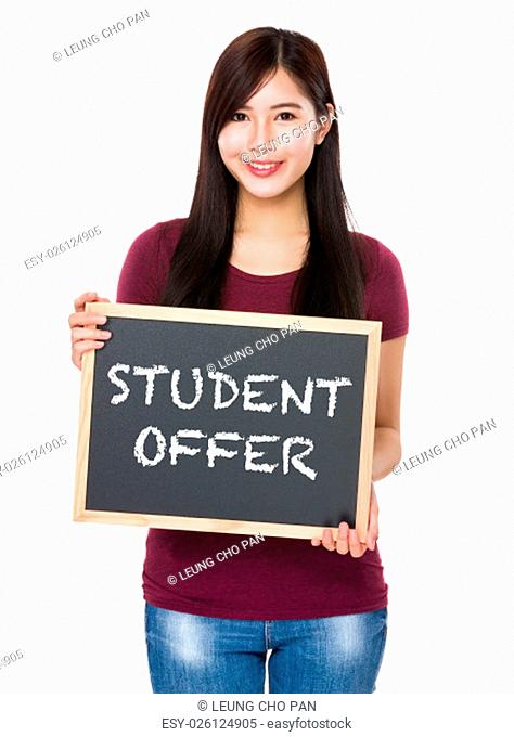 Asian woman with chalkboard showing student offer