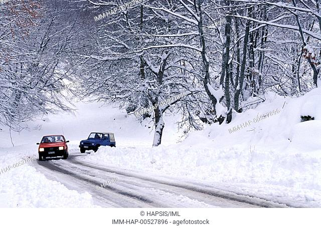 Mount Falakro, road, cars, snow, Drama, Macedonia East, Greece