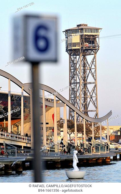 Cable car over the port, Barcelona  Catalonia, Spain