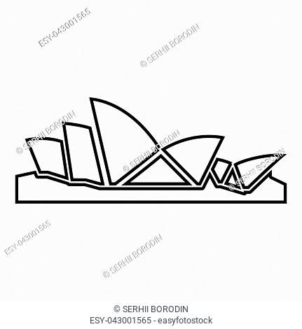Sydney Opera House icon black color vector illustration flat style outline