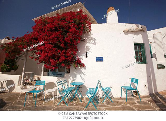 Open-air cafe with blue chairs in the Kastro-Castle area, Sikinos, Cyclades Islands, Greek Islands, Greece, Europe