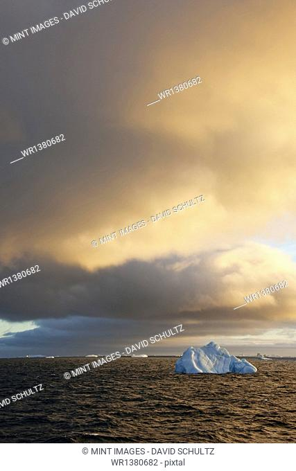 Icebergs at sunrise in the Weddell Sea, Antarctica