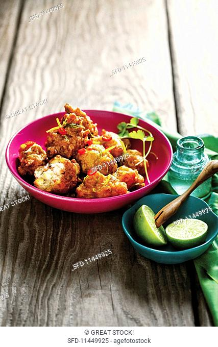 Sticky prawn & sweetcorn balls