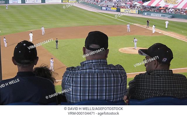 Time-Lapse of fans watching minor league baseball game in Pawtucket, Rhode Island