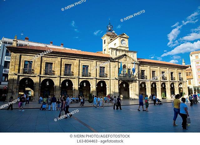 Town hall. Plaza Mayor. Avilés. Asturias. Spain