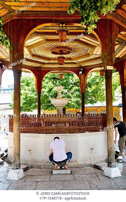 Fountain at Gazi Husrev- Bey Mosque , built in 1537  Sarajevo  Bosnia- Herzegovina  Balkans Europe