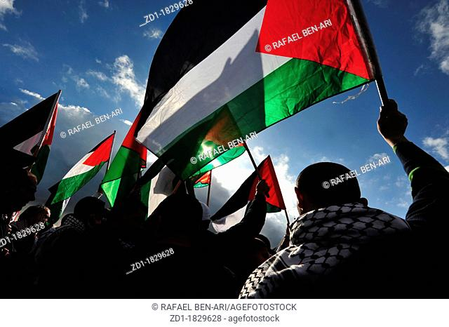 Silhouette of Palestinian men waving Palestinian flag