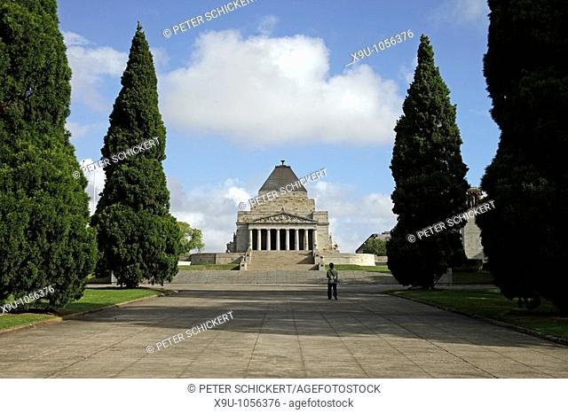 single visitor in front of the Shrine of Remembrance in Melbourne, Victoria, Australia