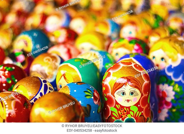 Colorful Russian Nesting Dolls Matreshka At The Market. Matrioshka Babushka Nesting Dolls Are The Most Popular Souvenirs From Russia
