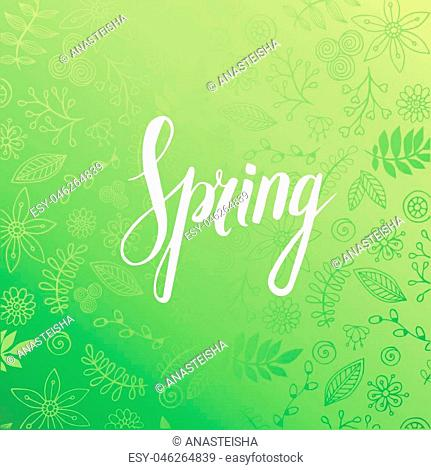 Design banner with spring is here logo. Vector greeting card