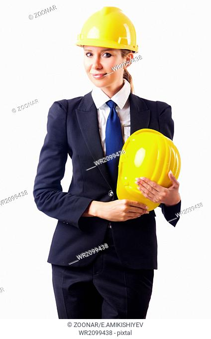 03b26caa7d0 Beautiful girl builder in white helmet Stock Photos and Images