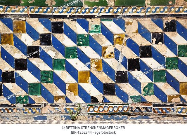 Old tiles in the Real Alcazar, the royal palace in Seville, Andalusia, Spain, Europe