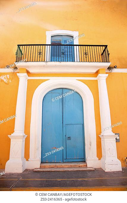 Colorful building with a balcony at the historic center of Campeche, Campeche, Yucatan, Mexico, Central America