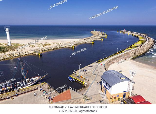 Mouth of Parseta River to the Baltic Sea - view from lighthouse in Kolobrzeg city in West Pomeranian Voivodeship of Poland